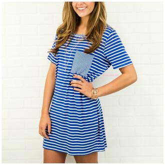 dress stripes blue and white royal blue short dress short sleeves pocket