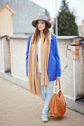 perla oreneta,blogger,jeans,blue jacket,fedora,t-shirt,coat,scarf,shoes,bag,hat