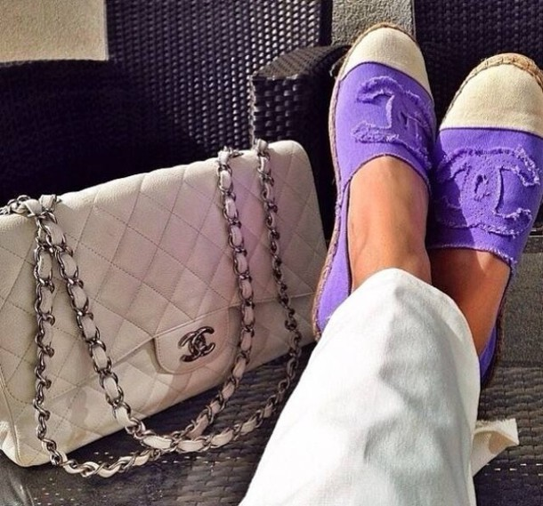 Purple Chanel Espadrilles Shoes White Purple Chanel