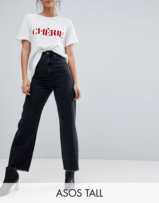 ASOS DESIGN Tall wide leg jeans in ashes black wash at asos.com