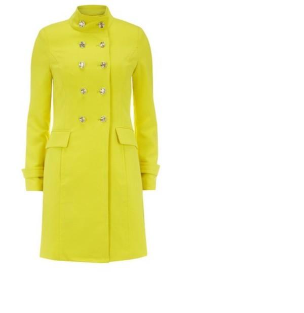 lemon yellow coat military style pea coat