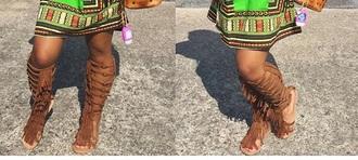 shoes sandals sandles fringes fringe shoes fashion fringed bag brown