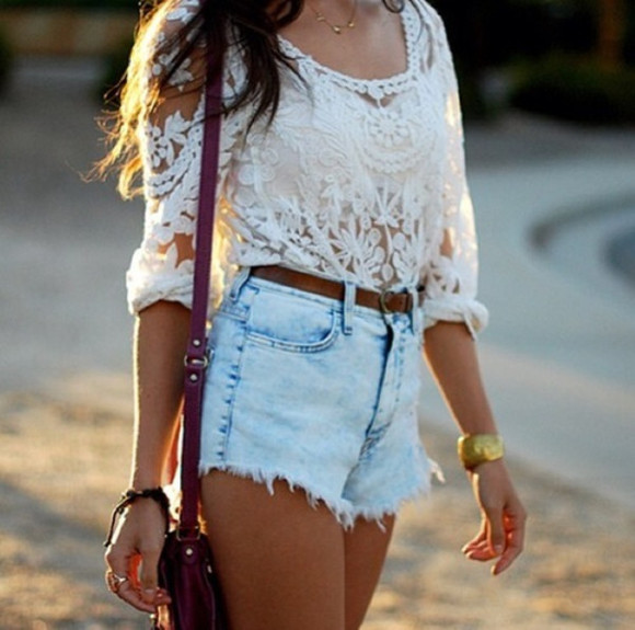 shorts t-shirt white lace lace top cute top high waisted short