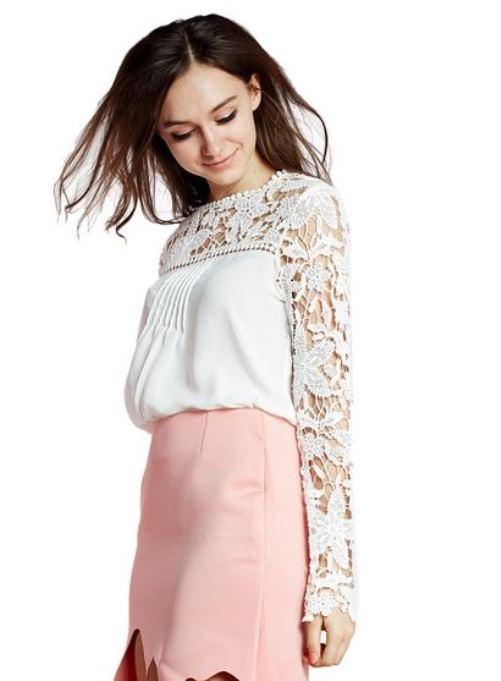 White chiffon lace panel blouse