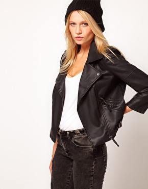 ASOS | ASOS Leather Look Quilted Biker Jacket at ASOS