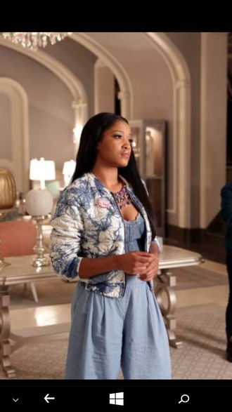 jacket scream queens denim denim dress necklace tie dye two tone jacket blue and white keke palmer