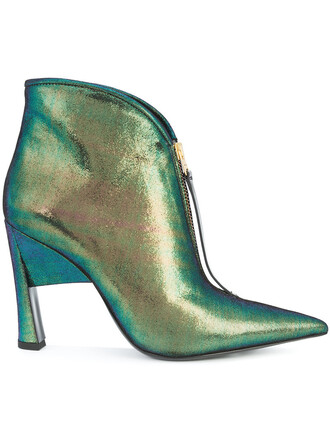 women booties leather green shoes