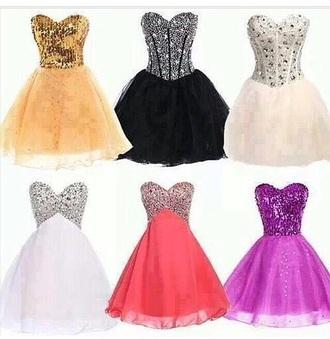 purple dress black pink dress white dress gold