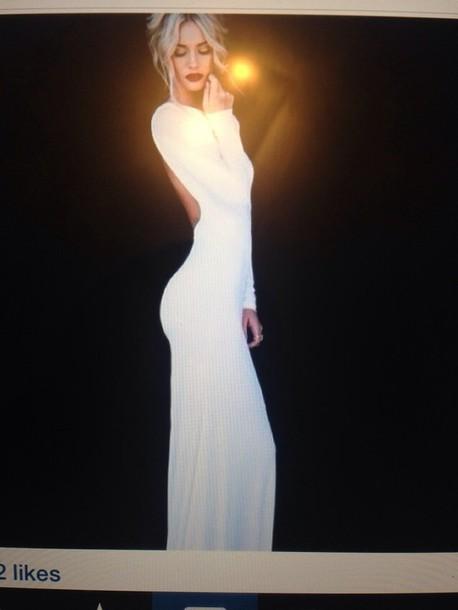 dress white long sleeved long dress
