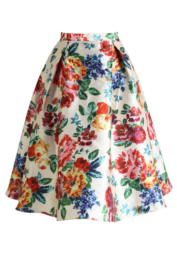 skirt chicwish blossom age floral midi skirt