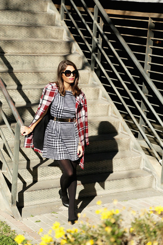 seams for a desire blogger coat houndstooth winter outfits waist belt belted dress dress shoes belt jewels