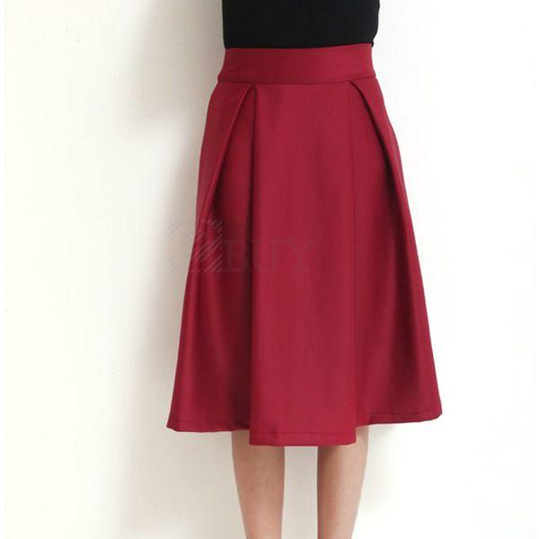 Women Full Skirt Pleated High Waist Vintage Autumn Winter Fashion | eBay