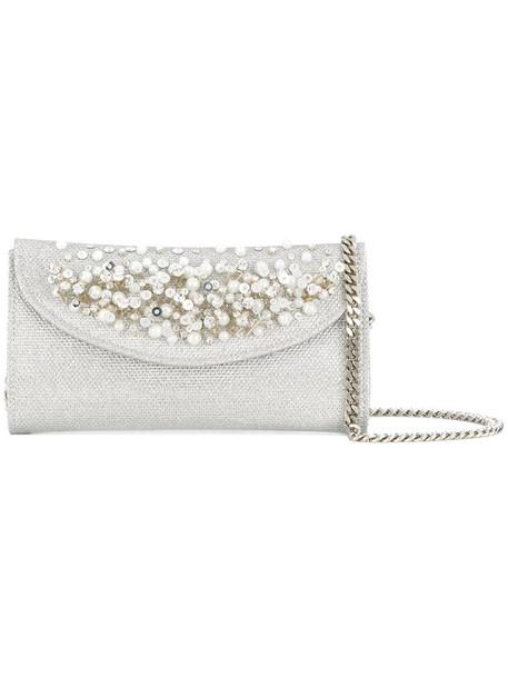 CASADEI women pearl embellished clutch satin grey bag