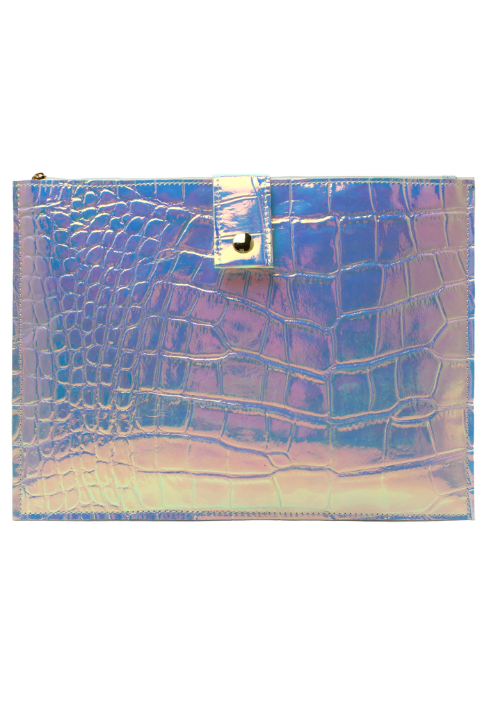 Crocodilian Leather Metallic Clutch - Retro, Indie and Unique Fashion