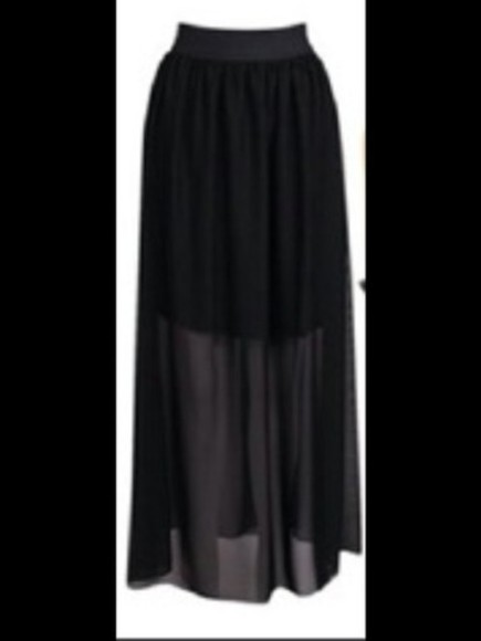 skirt black long