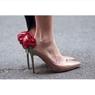 shoes valentino rose shoes valentin rose shoe nude fashion style beautiful nude pumps
