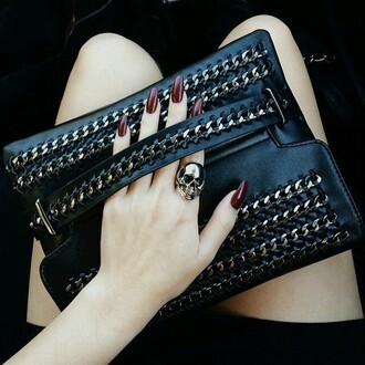 bag chain studded clutch handbag black leather chain bag