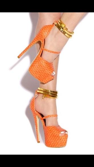 shoes pumps orange party ankle strap spring
