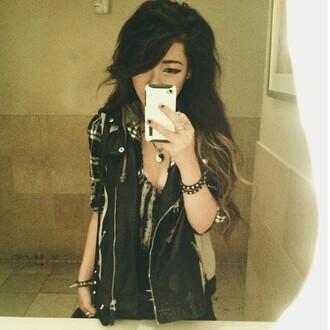 jacket leather vest zip black leather punk biker jacket
