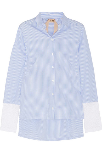No. 21 | Carlene striped cotton and lace shirt | NET-A-PORTER.COM