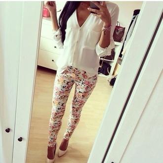 style blouse jeans t-shirt shirt floral jeans