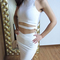 High split midi two piece bandage dress white