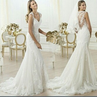 dress lace dress lace capsleeves cap sleeve lace back fish tail prom gown wedding white wedding dress mermaid v neck bridal gown trailing backless dress