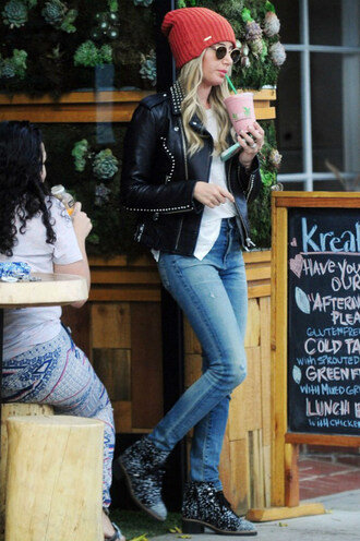 jeans jacket ashley tisdale boots beanie hat