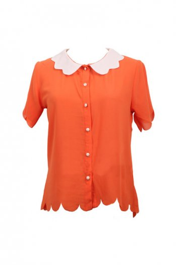Wave hemming retro chiffon orange shirt [ncshp0006]