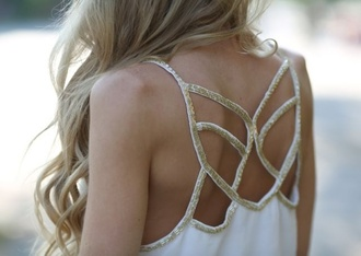 blouse white clothes tank top top gold shirt top gold white gold tank top back sequins design