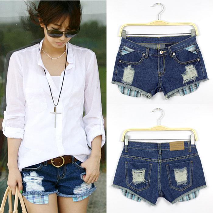 Womens new summer hot pants worn retro blue short denim shorts ring 9279