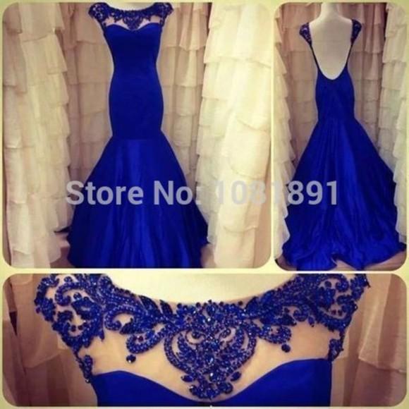 prom dress backless dress beading dress satin dress royal blue dress mermaid dress sheer neckline dress elastic satin dress beading pearl beading dress 2014