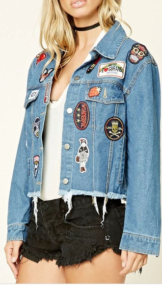 jacket ripped patched denim jacket