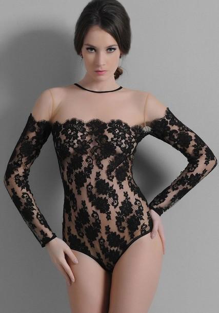 underwear lace bodysuit body black