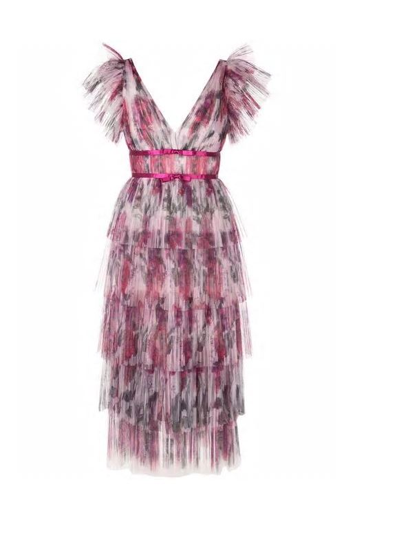 Marchesa Notte Frilled Pleated Dress