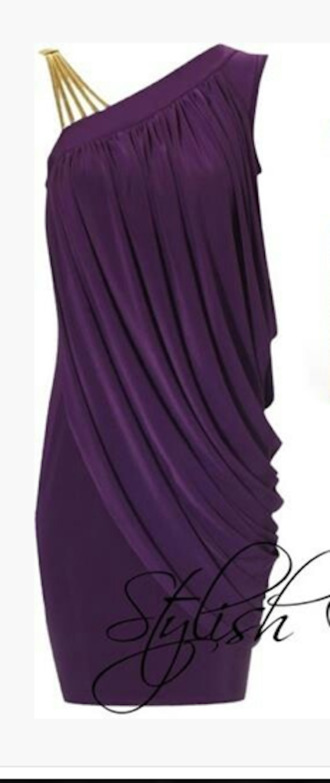 dress short dress one shoulder dress plum dress eggplant purple dress draped dress asymmetrical dress