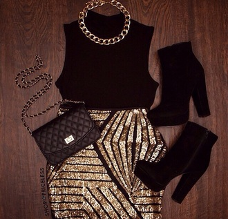 skirt gold black necklace boots fall outfits outfit purse crop tops high waisted skirt shoes
