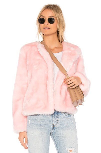 MILLY Faux Fur Jacket in pink