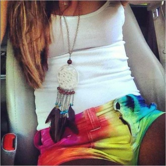 shorts tie dye necklace multicolored shorts dreamcatcher jewels multicolor mini shorts tie dye shorts