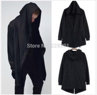 cardigan black mens hoodie cloak menswear mens sweater hoodie cape