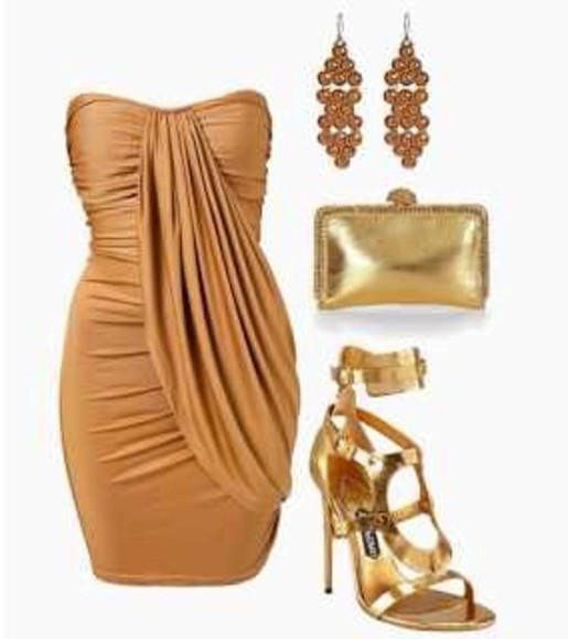 dress high heels shoes metallic clothes gold outfit orange amber clutch ruched bag