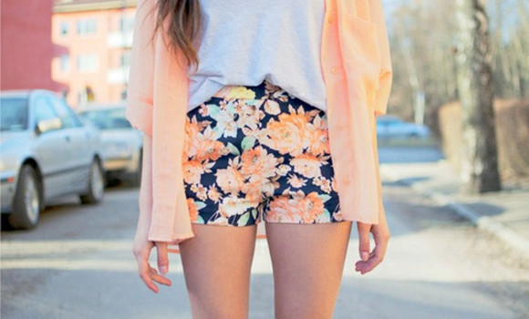 floral shorts girl summer spring swag cardigan hot pants shirt yolo sun fun