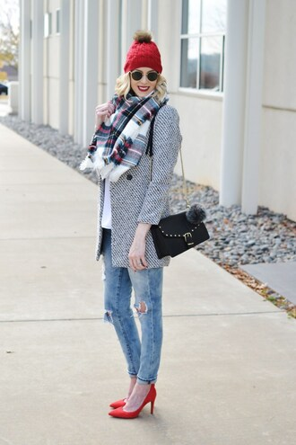 straight a style blogger bag shoes jeans jacket tank top scarf make-up hat beanie tartan scarf black bag winter outfits red heels high heel pumps