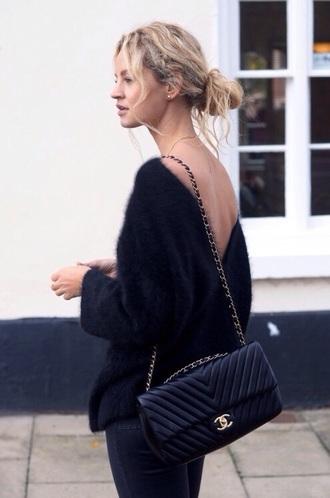 sweater black fluffy bag black tote chanel blouse