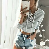 top,crop tops,cropped,cropped sweater,grey,grey sweater,lace up,boho,bohemian,vintage,grunge,harajuku,summer,beach,vogue,chanel,kylie jenner,instagram,gigi hadid,floral,fashionmovements,turtleneck