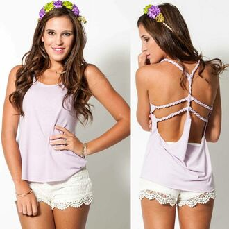tank top nautica top braided strap lace shorts statement back floral headband