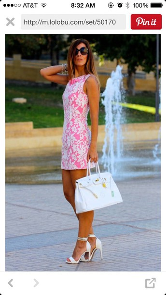 dress pink dress white dress lace dress classy preppy shoes