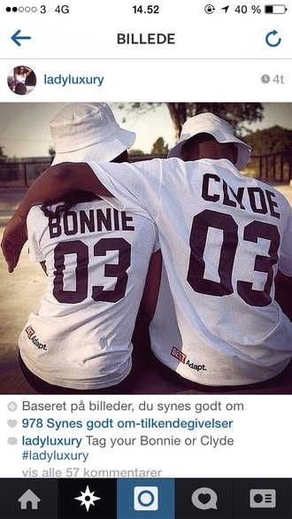 top bonnieandclyde t-shirt shirt adapt beyonce couple sweaters couples shirts breezy jay z