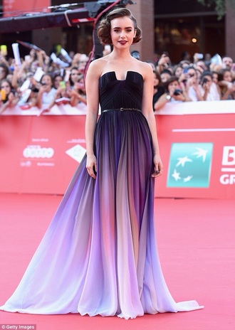 dress prom dress lily collins patterned dress