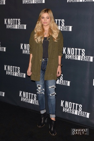 jeans olivia holt disney ripped jeans jacket coat green jacket black shoes shoes heels high waisted jeans army green jacket top cardigan